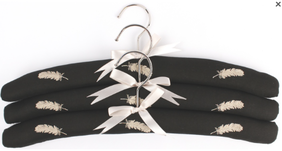 Alice & Lily Embroidered Feathers Hangers - Set of 3