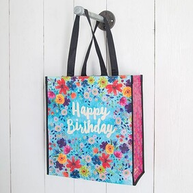 Natural Life Happy Birthday Gift Bag - Blue Floral Large