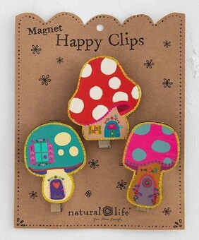 Natural Life Mushroom House Magnetic Happy Clips - Set of 3